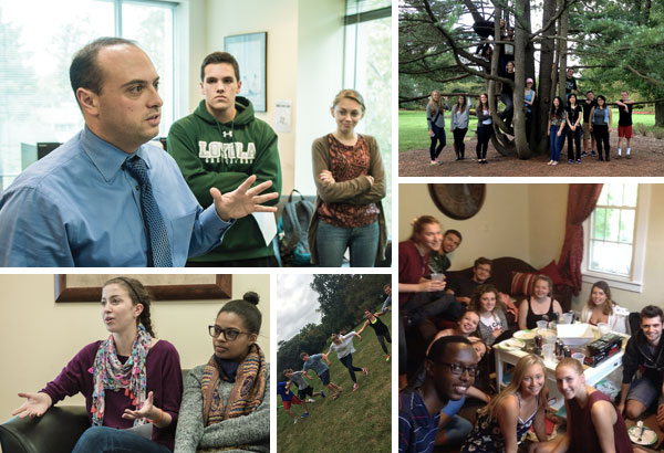 A collage of five photos of various groups of students and teachers