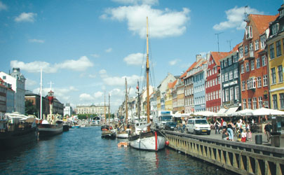 The busy streets and canals of Copenhagen, Denmark