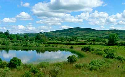 A lake and hills in the Irish countryside