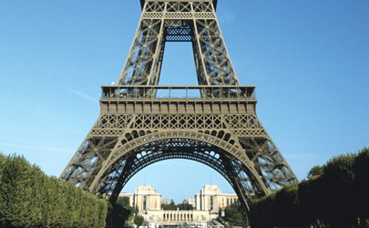 The Eiffel Tower on a bright and sunny day in Paris, France