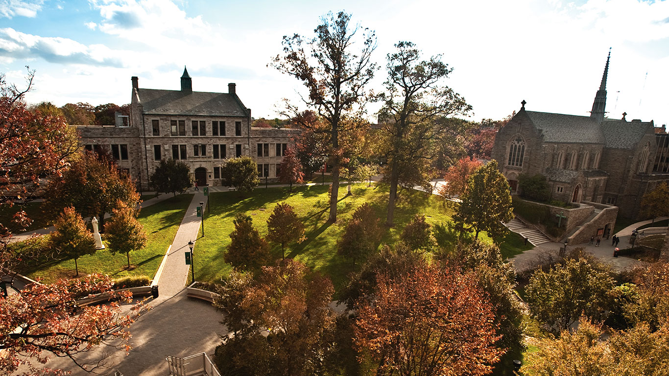 The Quad on Loyola's Evergreen Campus on a bright and sunny fall day