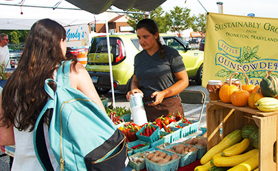 A person purchasing produce from a vendor at a farmers market