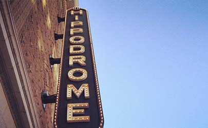 Ground-level view of the the logo sign outside the Hippodrome Theatre in Baltimore