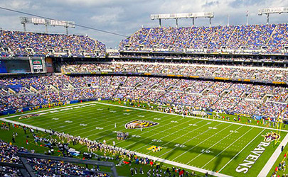 View from the upper deck of a packed crowd at a Ravens game at M&T Bank Stadium in Baltimore