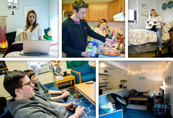 Collage of five images of students studying, cooking, and relaxing in their dorm rooms