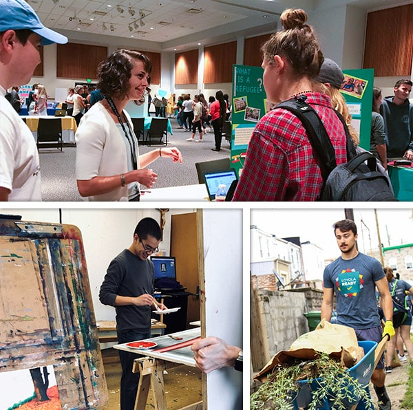 Collage of three photographs of students volunteering for various causes